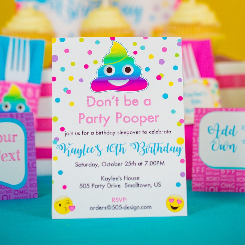 Emoji Party Pooper Invitation INSTANT DOWNLOAD Printable