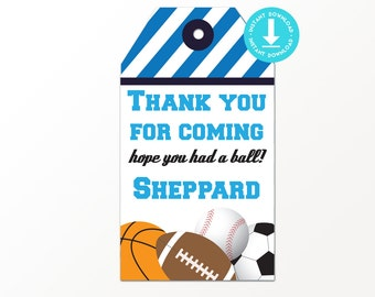 Sports Birthday Favor Tags - Printable Sports Party Favor Tags - Sports Party Favor Tag - Sports Party Thank You Tag by Printable Studio