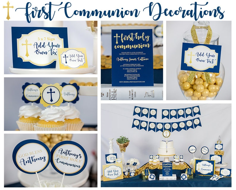 Boys First Communion Decorations Instant Download Navy Gold Etsy
