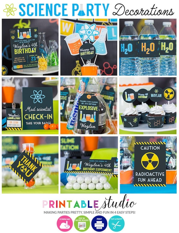 picture about Printable Mad Science Sign identified as Science Bash Decorations - Science Birthday Decorations