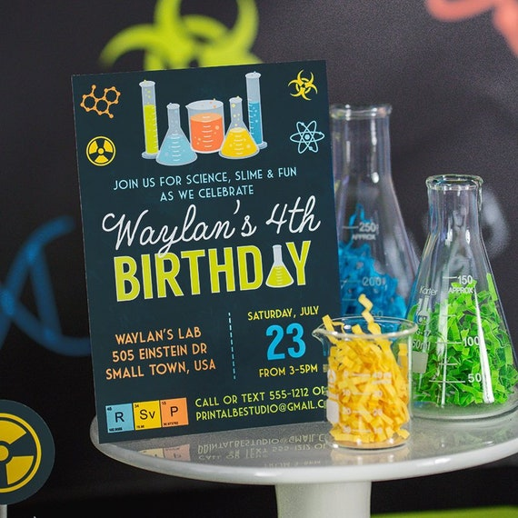 photograph about Printable Mad Science Sign known as Science Social gathering Invitation - Printable Nuts Science Birthday