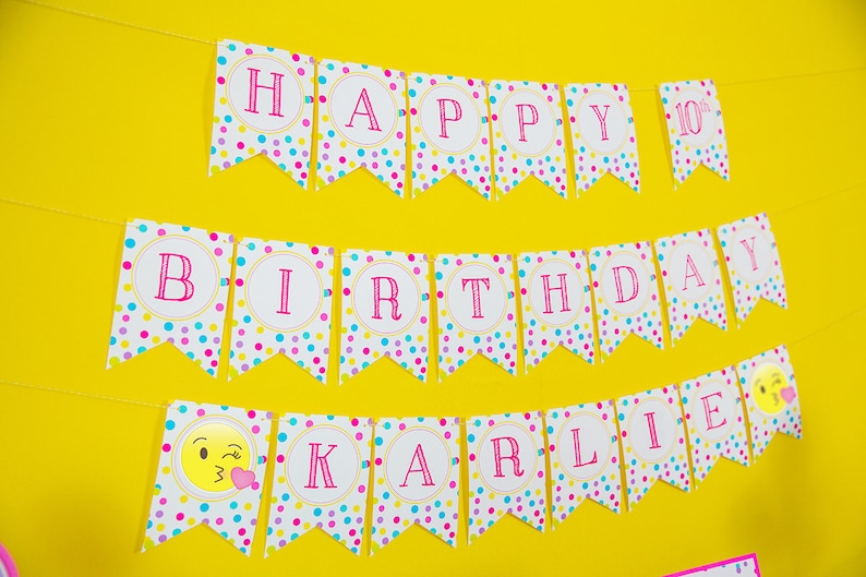 Emoji Birthday Banner Instant Download Happy