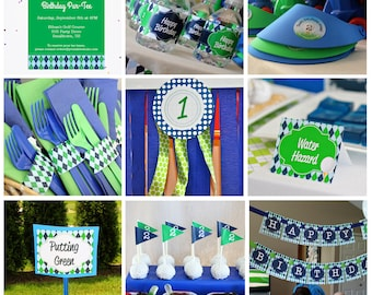 Golf Birthday Party Decorations and Invitation - Printable Golf Party Decorations - Instant Download Golf Birthday by Printable Studio