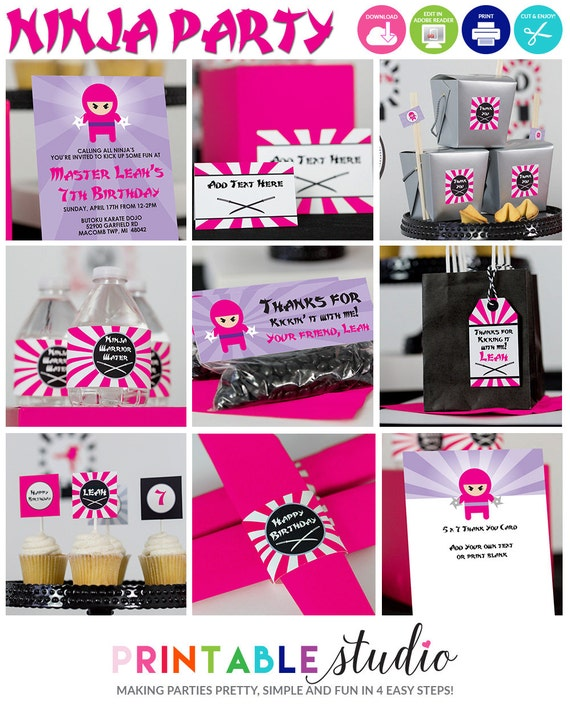 Girls Ninja Birthday Party Decorations INSTANT Download