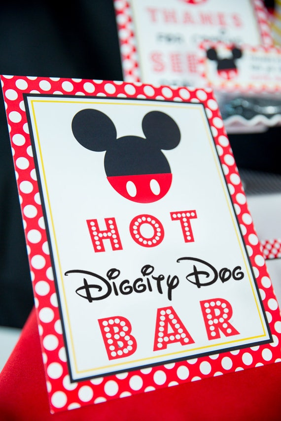 photo regarding Hot Diggity Dog Bar Free Printable called Very hot Diggity Canine Bar Indicator - Pink Mickey Mouse Get together Indicator