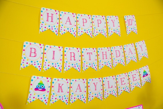 Emoji Party Pooper Birthday Banner Instant Download