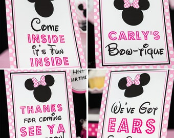 Minnie Mouse Party Signs in Light Pink - Instant Download Minnie Mouse Party Signs - Printable Set of Minnie Mouse Signs by Printable Studio