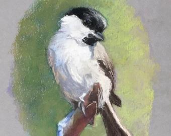 Original Painting of Chickadee Bird