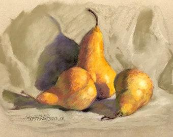 Original Still Life Painting of Pears Pastel Art Home Decor