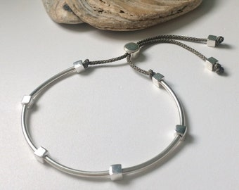 Sterling Silver Friendship Bracelet, Black or Grey Cord Bracelet for Men with Solid Cube Beads, Adjustable Handmade Gift for Him
