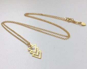 Gold Necklace for Women, Geometric Pendant, Triangles Arrow Charm, Dainty 18k Vermeil Chain, Handmade Gift for Her, Custom Sizes, Gift Box