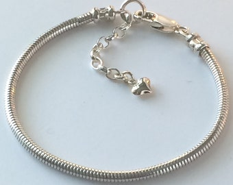 Sterling Silver Snake Bracelet with Heart Charm Extender, Solid 2.4mm Chain, Handmade Personalised Gift for Women / Girlfriend, Custom Sizes