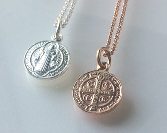 Sterling Silver or Rose Gold Coin Necklace, 18k Rose Gold Vermeil Chain, Dainty Charm Pendant for Women, Gift Box, 16, 18 or 20 inch