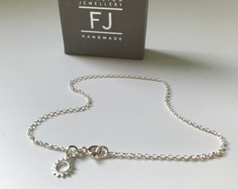 Sterling Silver Anklet with Sun Charm, Ankle Chain for Women, UK Handmade Ankle Bracelet Gift for Girls, Initial Charm Option, Custom Sizes
