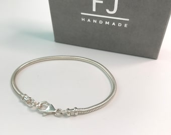 Boys Silver Bracelet, Solid Sterling Silver 3mm Snake Chain, Handmade, Custom Sizes, Gift Box, from Dad, Mum to Son, Matching Gift
