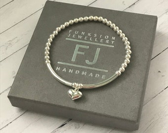 Sterling Silver Bracelets for Women, Love Heart Charm, Stretch Beaded Bracelet, Handmade Jewelry Gift, Custom Sizes, UK