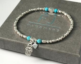 Sterling Silver Hamsa Heart and Turquoise Beaded Stretch Bracelet, UK Handmade Gift for Women, Custom Sizes, Gift Boxed