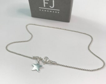 Sterling Silver Star Anklets for Women, Tiny Star Charm Ankle Bracelet, Ankle Chain for Women, UK Handmade Gift, Custom Sizes, Gift Box