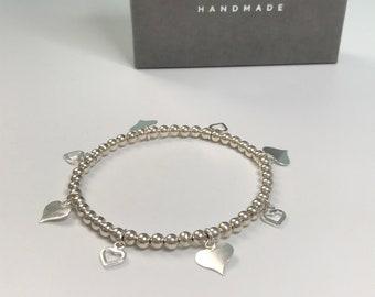 Sterling Silver Heart Charms Bracelet, Stretch Bracelets for Women, 4mm Beaded Gift for Her, UK Handmade 925 Silver Jewellery, Custom Sizes