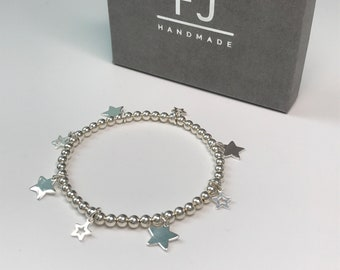 Sterling Silver Stars Bracelets, 925 Silver Stretch 4mm Beaded Bracelet with Star Charms, UK Handmade Gift for Women, Custom Sizes