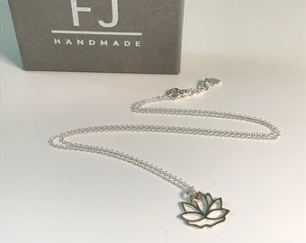 "Lotus Flower Necklace Silver, Yoga Lovers Gift, UK Handmade Sterling Silver Pendant for Women, 16"" 18"" or 20"", Gift Boxed"