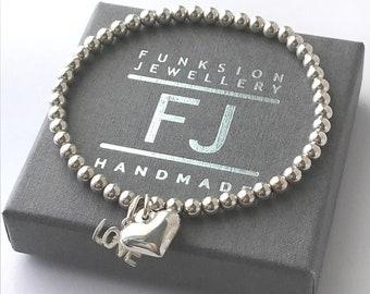 Sterling Silver Love Heart Stretch Bead Bracelet, Handmade Beaded Gift for Women, Custom Sizes
