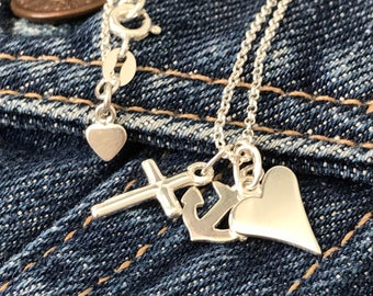 """Sterling Silver Faith Hope Love Pendant Necklace with Anchor, Cross &  Heart Charms, UK Handmade Gift for Women, Gift Boxed, 16"""" 18"""" or 20"""""""