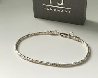 Sterling Silver Snake Chain Bracelet, Slim 2.4mm Solid Silver Bracelet, Gift for Men & Women, UK Handmade, Custom Sizes, Gift Box