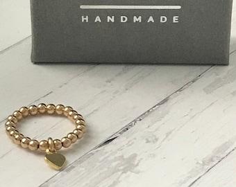 Gold Beaded Ring, Stacking Heart Charm Stretch Rings, Handmade Gift for Women, 2.5mm Gold Filled Ball Beads, Custom Sizes, UK