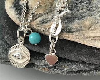 Sterling Silver Evil Eye Necklace, Evil Eye Pendant Protection Necklace, UK Handmade Gift for Women, Custom Sizes, Gift Boxed