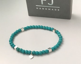 Turquoise & Sterling Silver Beaded Bracelet, UK Handmade Stretch Stackable Bracelets, Gift for Women, Custom Sizes