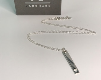 Sterling Silver Vertical Bar Necklace for Women, Long Bar Pendant Tag with Heart Design, UK Handmade Gift, Custom Sizes