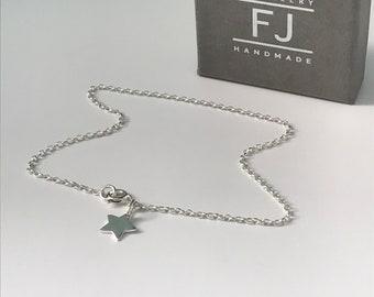 Sterling Silver Star Anklets for Women, Charm Ankle Bracelet, Belcher Ankle Chain, UK Handmade Gift for Her, Custom Sizes