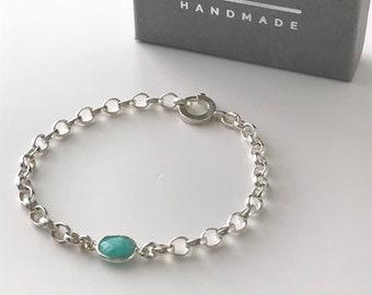 Silver Turquoise Charm Bracelet, Sterling Silver Belcher Chain, Handmade Gift for Women, Gift Box, Custom Sizes