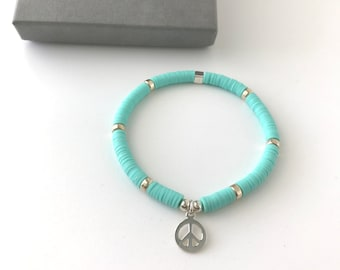 Sterling Silver Peace Charm Bracelets for Women, Handmade Turquoise Heishi Beaded Gift for Her, Stretch Jewelry in Custom Sizes