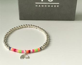 Sterling Silver Rainbow Charm Beaded Bracelets for Women, Colorful Lucky Charm Hope Bracelet, UK Handmade Gift, Custom Sizes