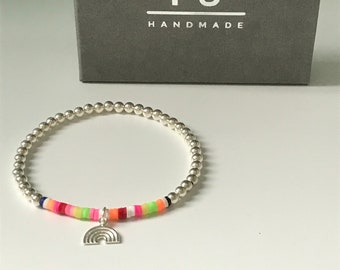 Sterling Silver Beaded Bracelets with Rainbow Charm, Gift for Women, Colorful Lucky Charm Hope Bracelet, UK Handmade Gift, Custom Sizes