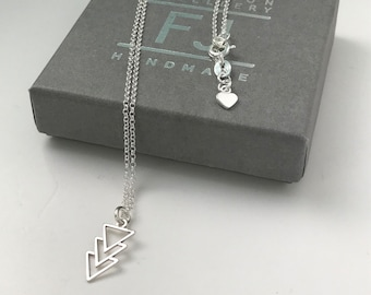 Sterling Silver Geometric Necklace, Triangles Pendant Necklace, Simple Silver Necklace, UK Handmade Gift for Women, Custom Sizes, Gift Boxed