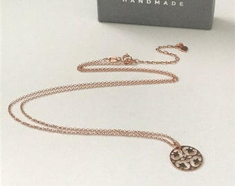 Rose Gold Pendant Necklace, Mandala Circle Charm on Dainty Chain, Adjustable Handmade Spiritual Gift for Women