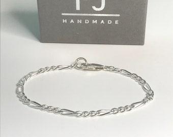 Mens Sterling Silver Chain Bracelet, Solid 3.5mm Flat Figaro Chain, UK Handmade Gift in Gift Box for Men or Women, Custom Sizes