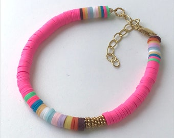 Pink Multi Colour Heishi Gold Bead Bracelet with Extender for Women, Handmade Adjustable Beaded Gift for Her