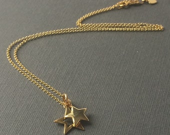 Gold Star Necklaces for Women, Double Star Charms on Dainty Chain, UK Handmade Gift for Her, Custom Sizes
