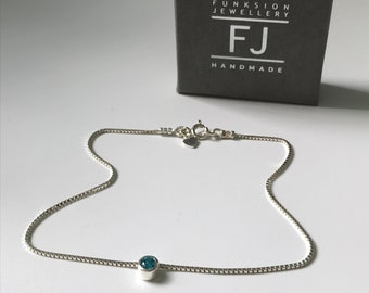 Sterling Silver Anklet, Sparkly Box Chain Ankle Chain with Blue or Clear Slider, UK Handmade Ankle Bracelet Gift for Women, Custom Sizes