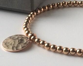 Rose Gold Full Moon Charm Bracelet, 14k Rose Gold Filled 4mm Beads, 24k Vermeil Hammered Disc, Handmade Gift for Women, Custom Sizes