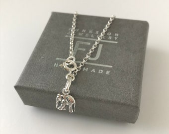 Sterling Silver Lucky Elephant Charm Anklet, Mini Belcher Ankle Chain, Handmade Gift for Women in Custom Sizes