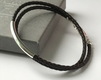 Mens Wrap Bracelet, Leather & Sterling Silver Beaded in Black or Brown Braided Leather, Handmade Gift for Men, Gift Box