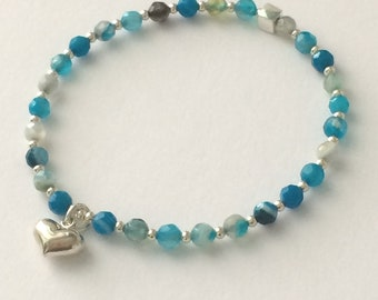 Turquoise Blue Agate Bracelet with Sterling Silver Beads & Heart Charm, Gemstone Beaded, Handmade Gift for Women, Custom Sizes, Gift Box