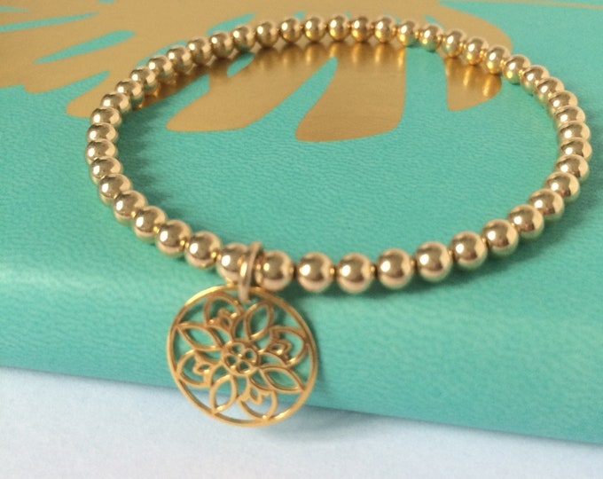 Featured listing image: Gold Filled Bracelet, Mandala Circle Charm, Stretch 14k Gold Fill Beaded, Floral Gift for Women, Custom Sizes, Simple, Hand Made, UK