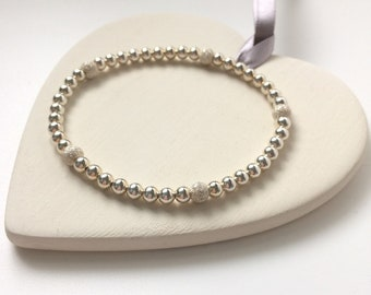 Sterling Silver Stretch Beaded Bracelets, Sparkling Stardust Bead Bangles in Custom Sizes, Handmade Gift for Women