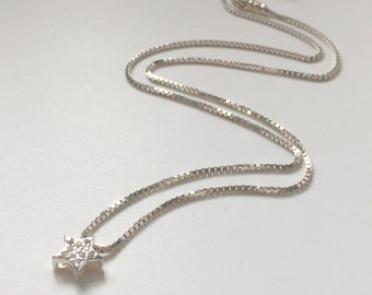Sterling Silver Star Necklace for Women, Sparkling CZ Star on Dainty Box Chain, Handmade, Gift Box, Custom Sizes